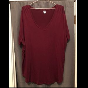 Maroon Old Navy Luxe V-Neck Top